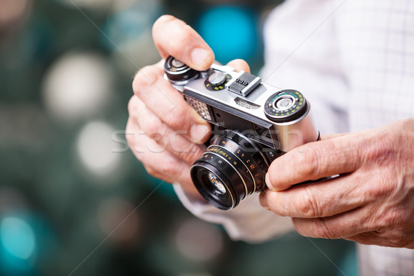 Ver homem retro câmera natal Foto stock © photobac