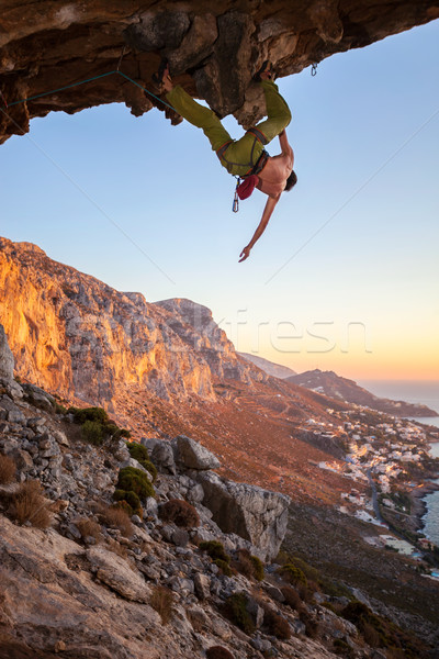 Male climber on overhanging rock Stock photo © photobac