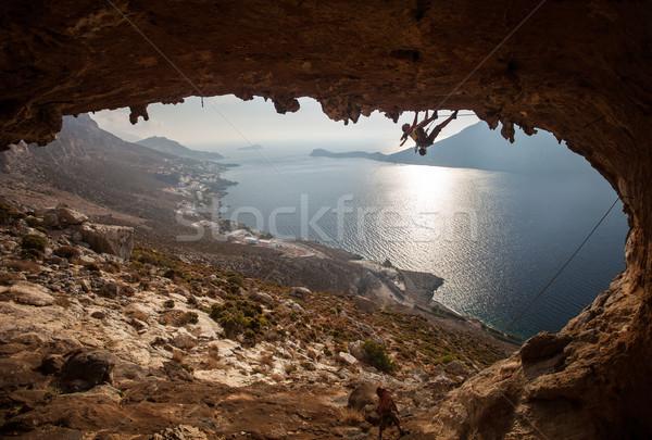 Familie rock zonsondergang pittoreske eiland Stockfoto © photobac