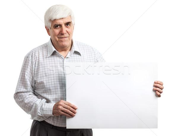 Bonito homem maduro quadro de avisos isolado branco Foto stock © photobac