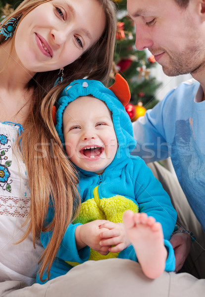 Stockfoto: Jonge · ouders · baby · zoon · kostuum · dekken