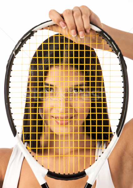 женщины глядя Теннисная ракетка молодые ракетка Сток-фото © photobac