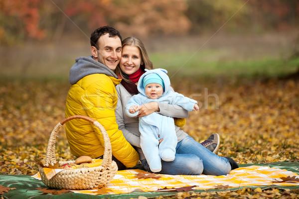 Fiatal pér baba fiú piknik ősz park Stock fotó © photobac