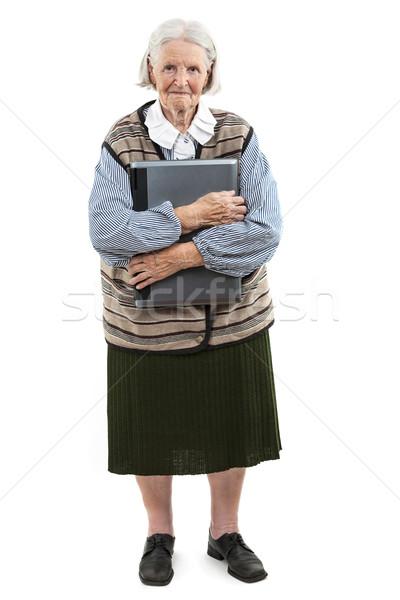 シニア 女性 ラップトップコンピュータ 白 孤立した ストックフォト © photobac