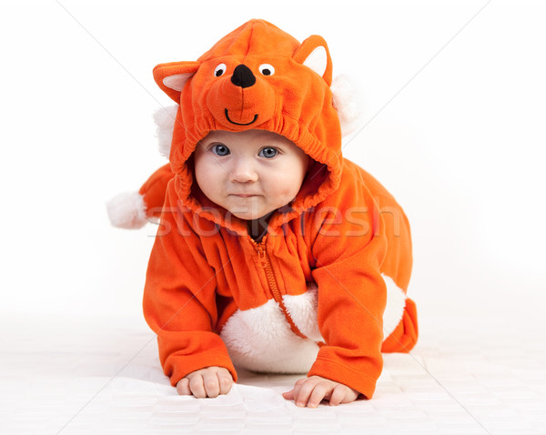 Baby boy in fox costume looking at camera on white Stock photo © photobac