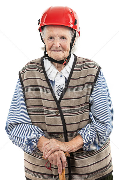 Portrait of a smiling senior woman in red helmet Stock photo © photobac