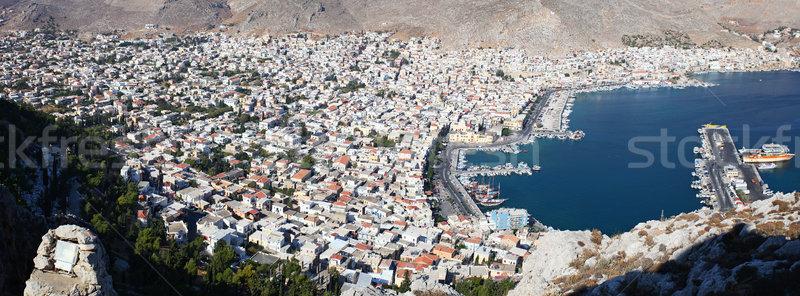 Stock fotó: Légifelvétel · kikötő · Görögország · tenger · csónak · madarak