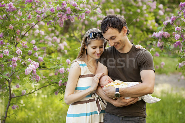 Recém-nascido filho ao ar livre primavera bebê Foto stock © photobac