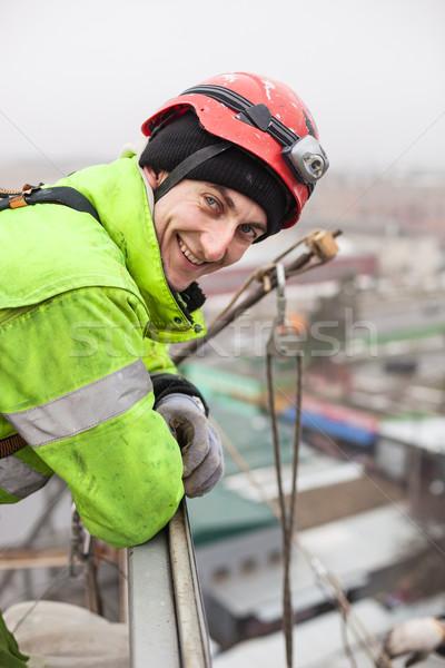 Industriële metaal bouw top winter werknemer Stockfoto © photobac