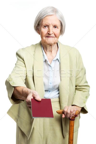Senior donna passaporto bianco piedi business Foto d'archivio © photobac