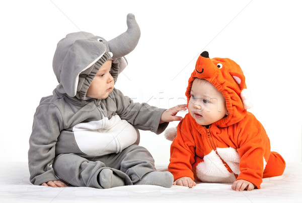 Two baby boys dressed in animal costumes playing Stock photo © photobac