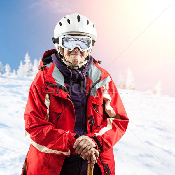 Сток-фото: старший · женщину · лыжных · куртка · темные · очки · улице