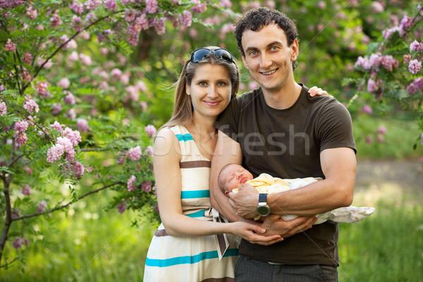 Recém-nascido filho ao ar livre primavera jovem Foto stock © photobac