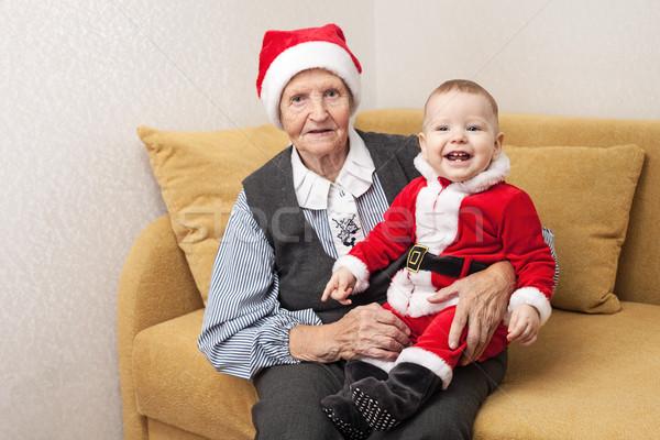 Natal bebê roupa avó engraçado Foto stock © photobac