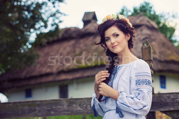 Young woman in traditional Ukrainian clothing Stock photo © photobac