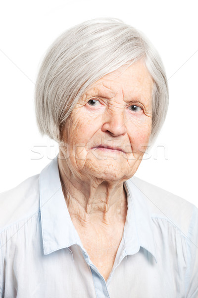 Portret senior vrouw naar camera witte Stockfoto © photobac