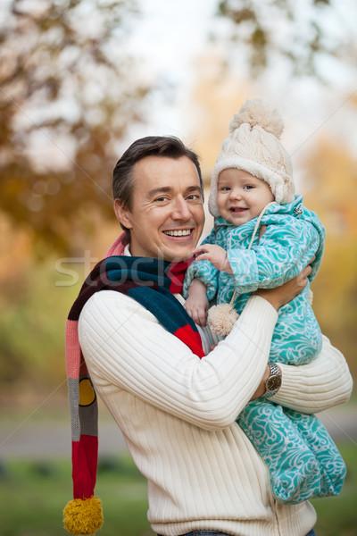 Jovem pai pequeno filho retrato outono Foto stock © photobac