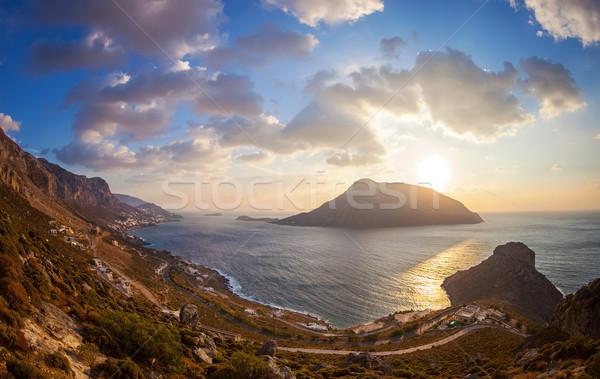 Kilátás felső domb naplemente sziget Görögország Stock fotó © photobac