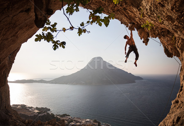 Rock climber at sunset. Kalymnos, Greece. Stock photo © photobac