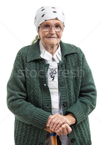 Portré idős nő néz kamera mosolyog Stock fotó © photobac