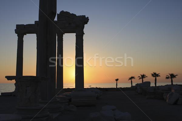 Templu lateral Turcia apus ruine Imagine de stoc © photoblueice