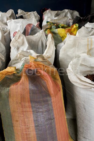 Cocoa bean bags in Peru Stock photo © photoblueice