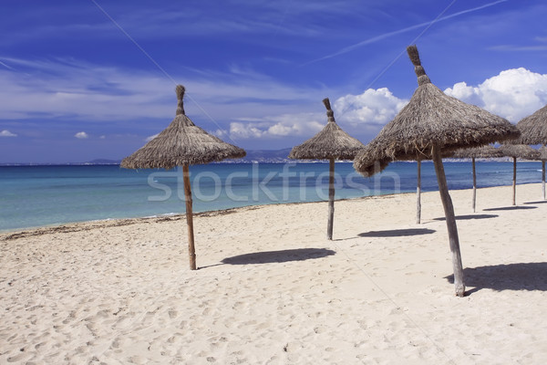Strand majorca Spanje zon parasols Stockfoto © photoblueice