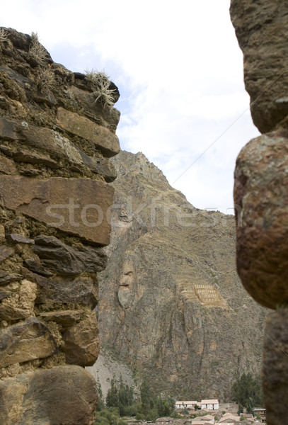 Rock face of Inca God in Ollantaytambo ruins Stock photo © photoblueice