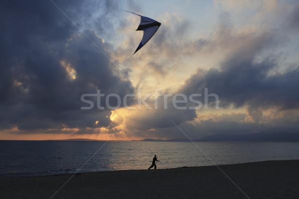 Flying кайт закат Майорка Испания Сток-фото © photoblueice