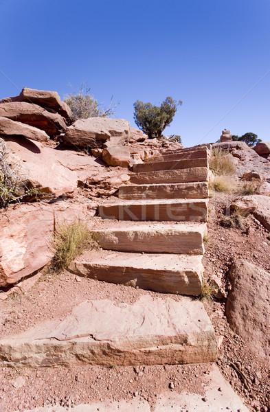 рок лестницы каньон шаги из банка Сток-фото © photoblueice