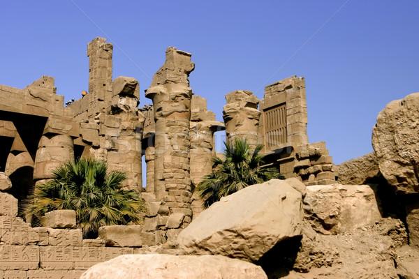 Tempel steen blauwe hemel luxor Egypte Stockfoto © photoblueice