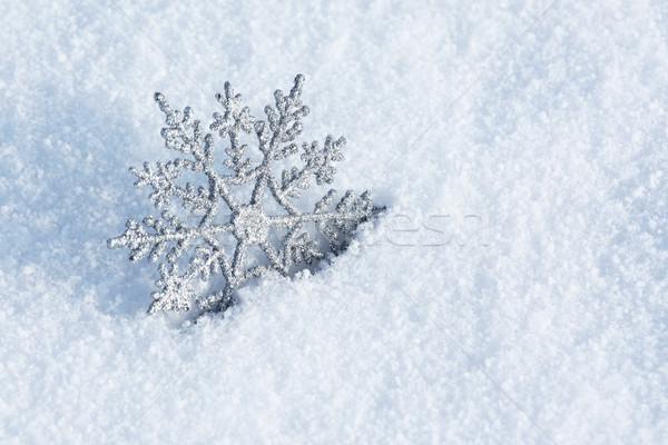 Winter Dekoration schönen Silber Schneeflocke Schnee Stock foto © photochecker