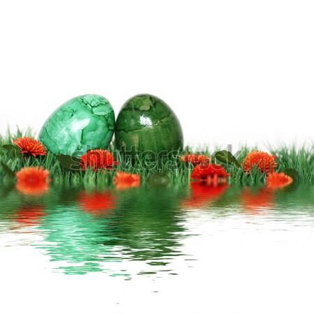 Schönen Dekoration grünen Eier nice Ostern Stock foto © photochecker