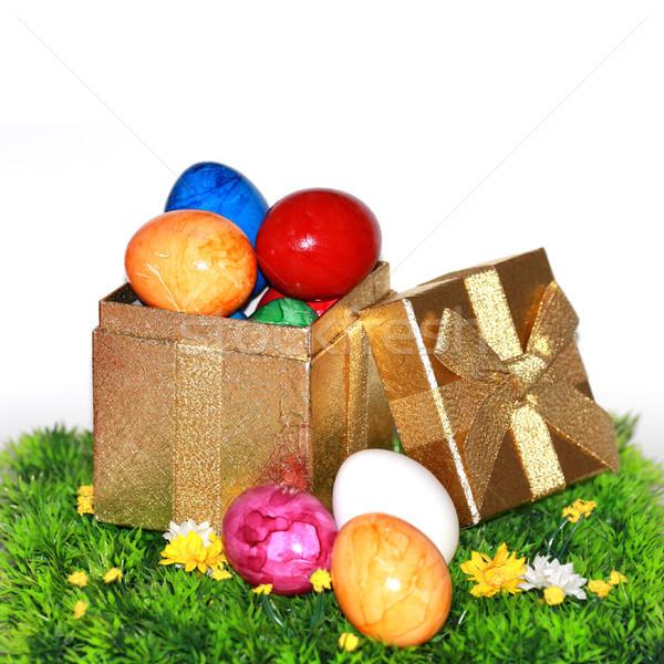 Farbenreich Ostereier Geschenk nice Dekoration Ostern Stock foto © photochecker