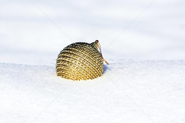 Weihnachten Ball Schnee Baum Gold Karte Stock foto © photochecker