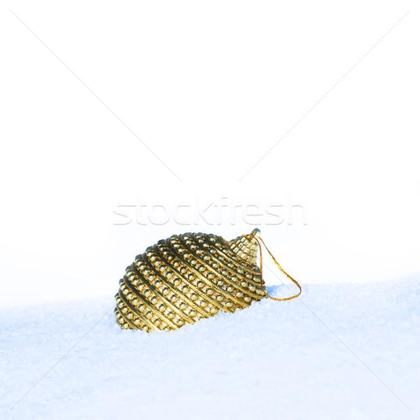 Weihnachten Spielerei Szene golden Schnee Baum Stock foto © photochecker