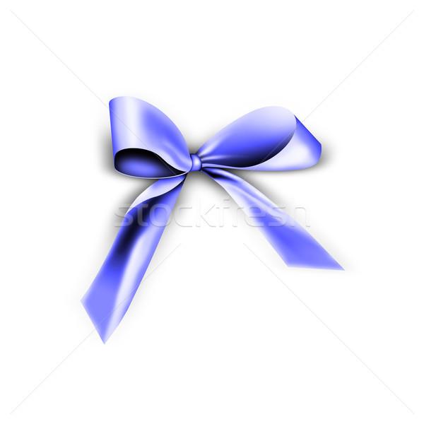 Blau Band Knoten isoliert weiß Liebe Stock foto © photochecker