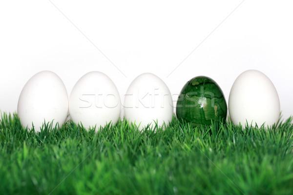 Grünen Ei weiß Eier nice Dekoration Stock foto © photochecker