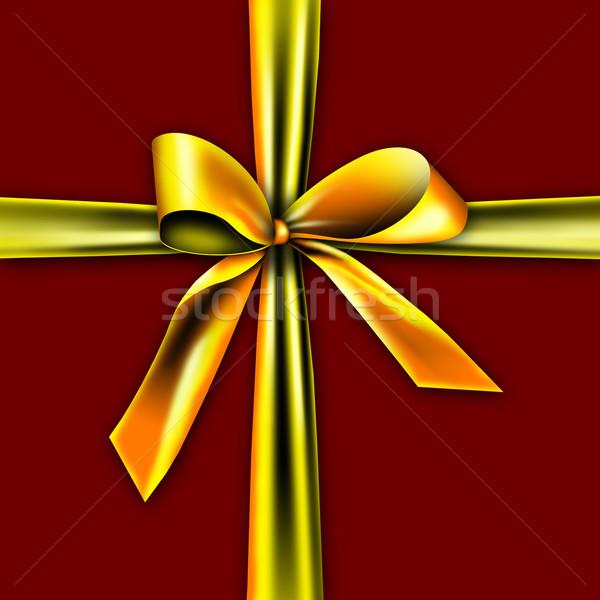Schönen Geschenkbox golden Band Knoten isoliert Stock foto © photochecker