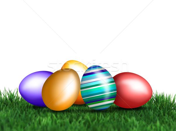 Farbenreich Eier Wiesen nice Dekoration Ostern Stock foto © photochecker