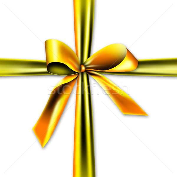 Schönen golden Geschenk Band Knoten isoliert Stock foto © photochecker