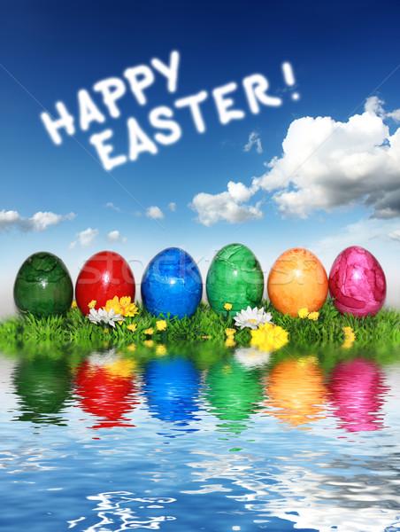 Happy Easter Dekoration Stock photo © photochecker