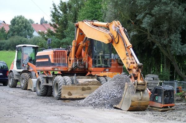 Wegenbouw groot graafmachine bouwplaats Duitsland bouw Stockfoto © photochecker
