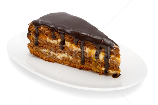piece of cake with chocolate glaze isolated on white Stock photo © Photocrea