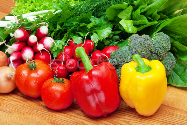 mix of fresh vegetables on wooden table Stock photo © Photocrea