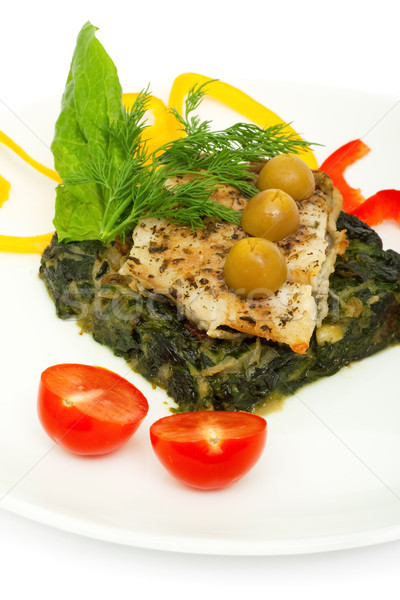 fish fillet grilled and sauteed spinach for garnish Stock photo © Photocrea