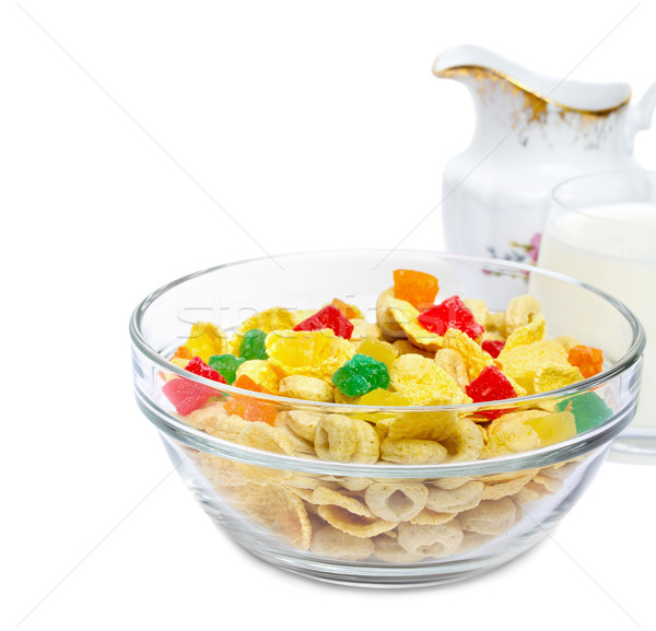 Saine muesli confits verre lait Photo stock © Photocrea