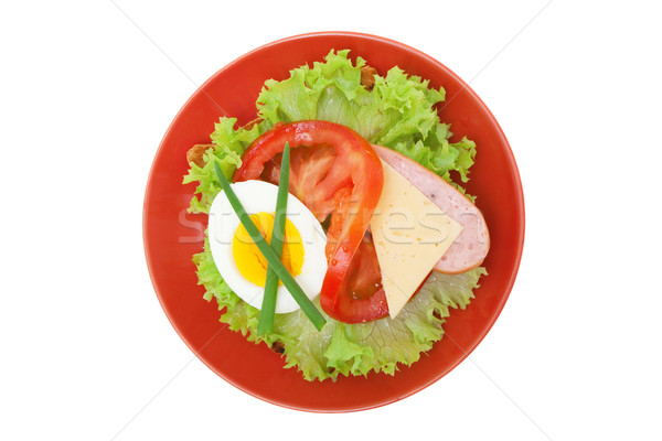 Sandwich with lettuce, egg, tomato, cheese, sausage, isolated on white Stock photo © Photocrea