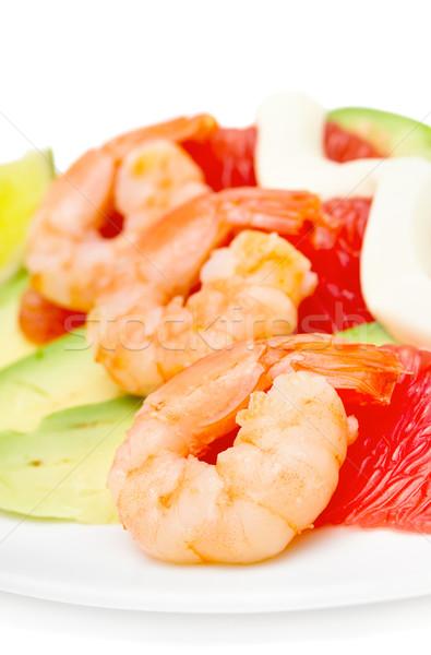 salad with shrimp, avocado and grapefruit isolated on white, foc Stock photo © Photocrea