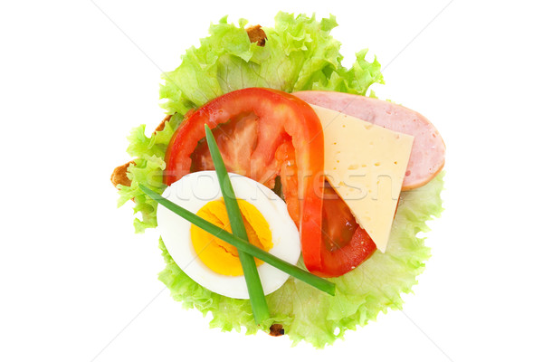 sandwich with lettuce, egg, tomato, cheese, sausage, isolated on Stock photo © Photocrea